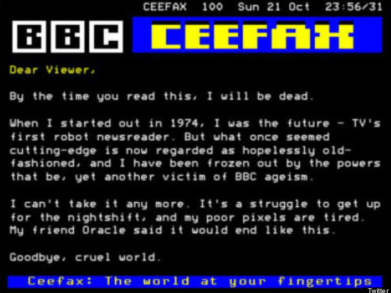 The BBC Ceefax services 2012 swan song.