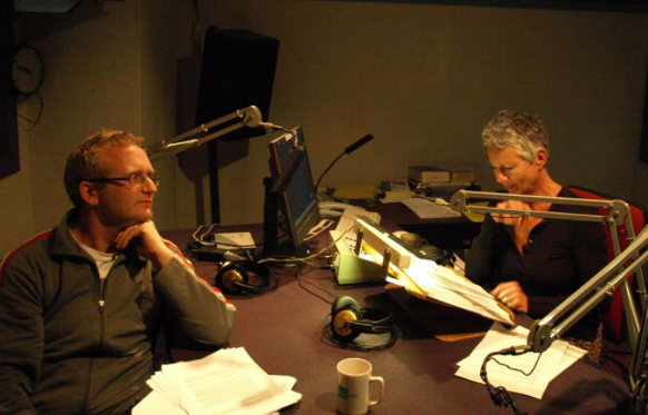 Alastair Thompson (left) with broadcaster Kim Hill
